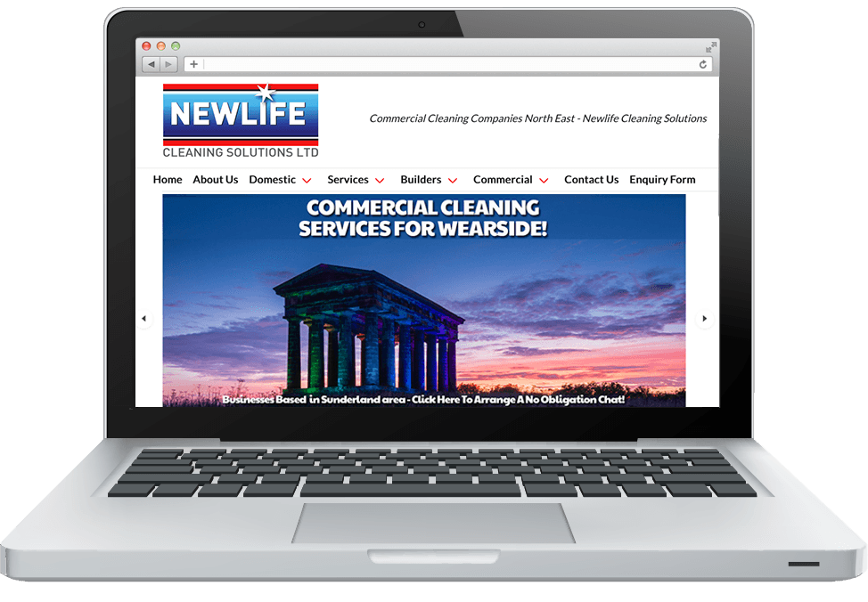 Commercial Cleaning North East image of new website for Newlife Cleaning Solutions
