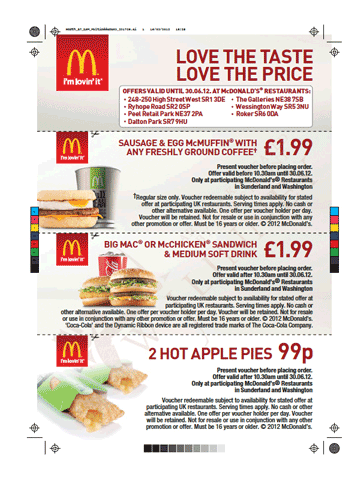 NRG Digital print sample for McDonalds
