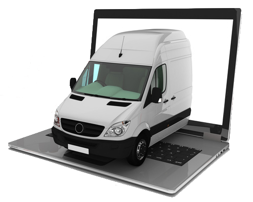White Van Coming out of laptop 2